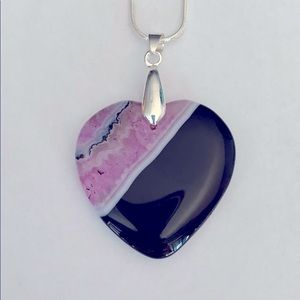 Pink and black heart necklace